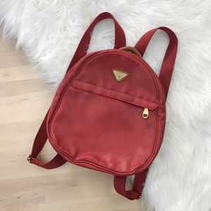 Vintage Red Round Vegan Leather Fashion Backpack
